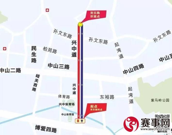 2017中山国际马拉松路线图比赛时间开跑地点图片